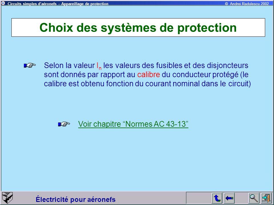 Circuits simples daéronefs – Appareillage de protection Électricité pour aéronefs © Andrei Radulescu 2002 Choix des systèmes de protection Selon la va