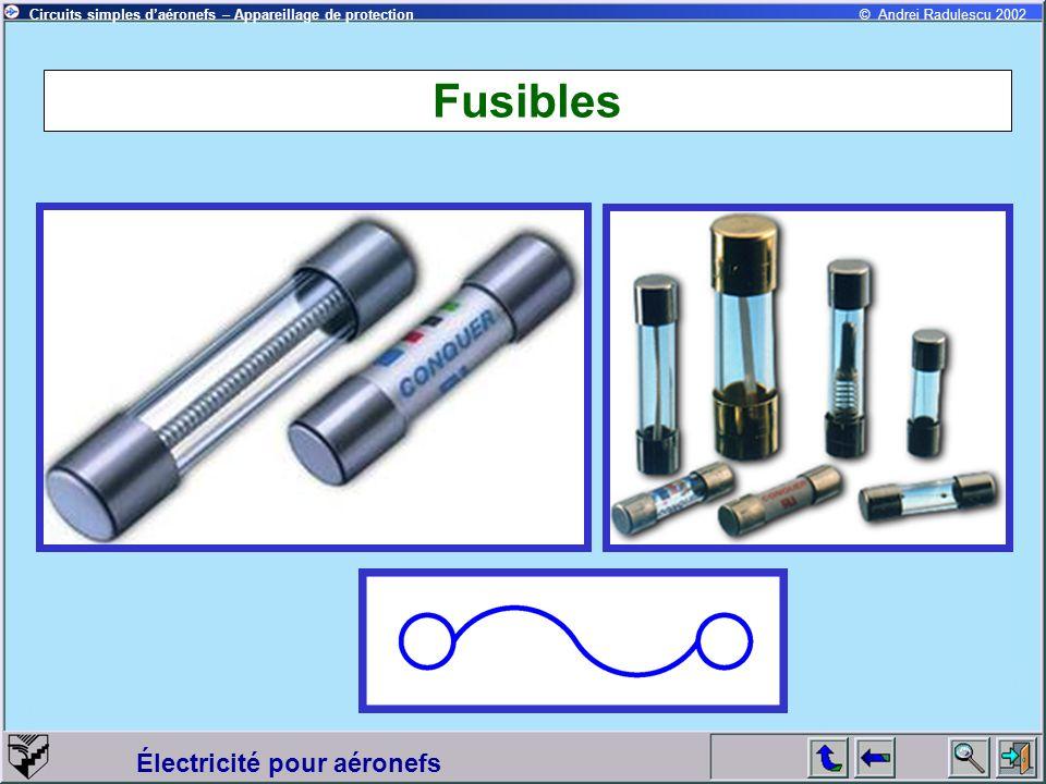Circuits simples daéronefs – Appareillage de protection Électricité pour aéronefs © Andrei Radulescu 2002 Fusibles