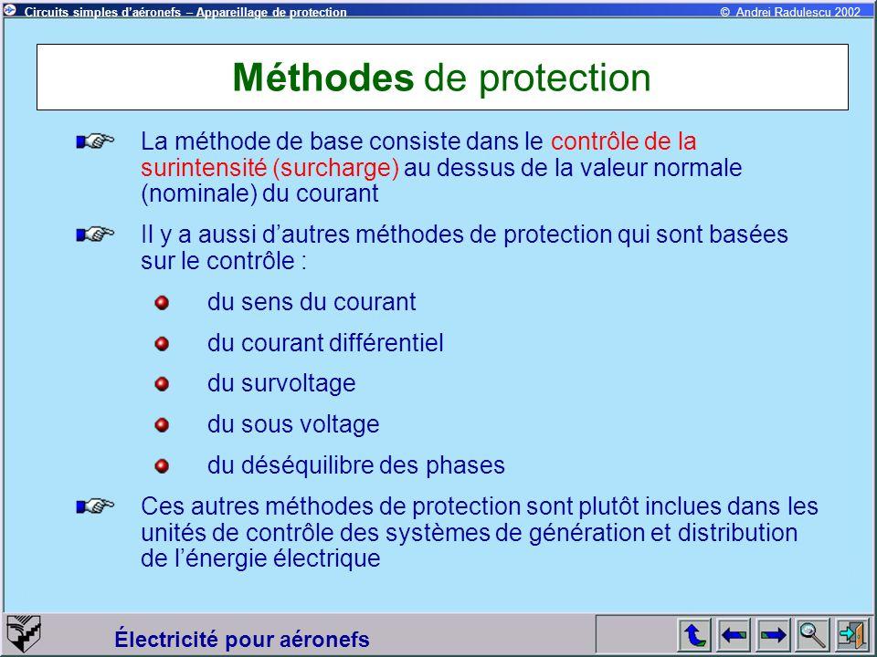 Circuits simples daéronefs – Appareillage de protection Électricité pour aéronefs © Andrei Radulescu 2002 Méthodes de protection La méthode de base co