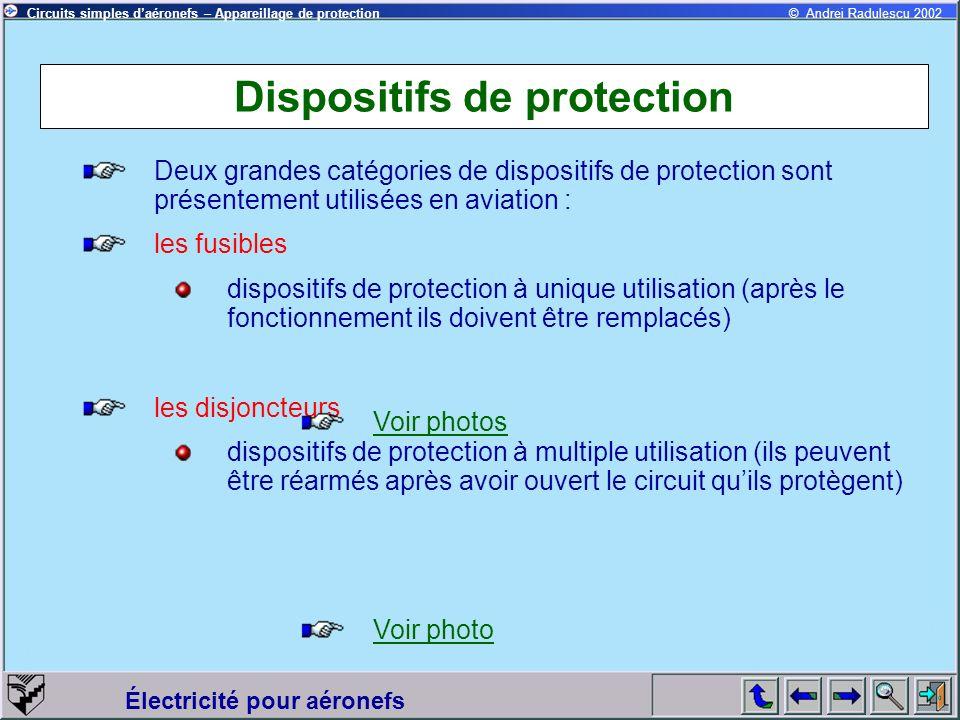 Circuits simples daéronefs – Appareillage de protection Électricité pour aéronefs © Andrei Radulescu 2002 Dispositifs de protection Deux grandes catég