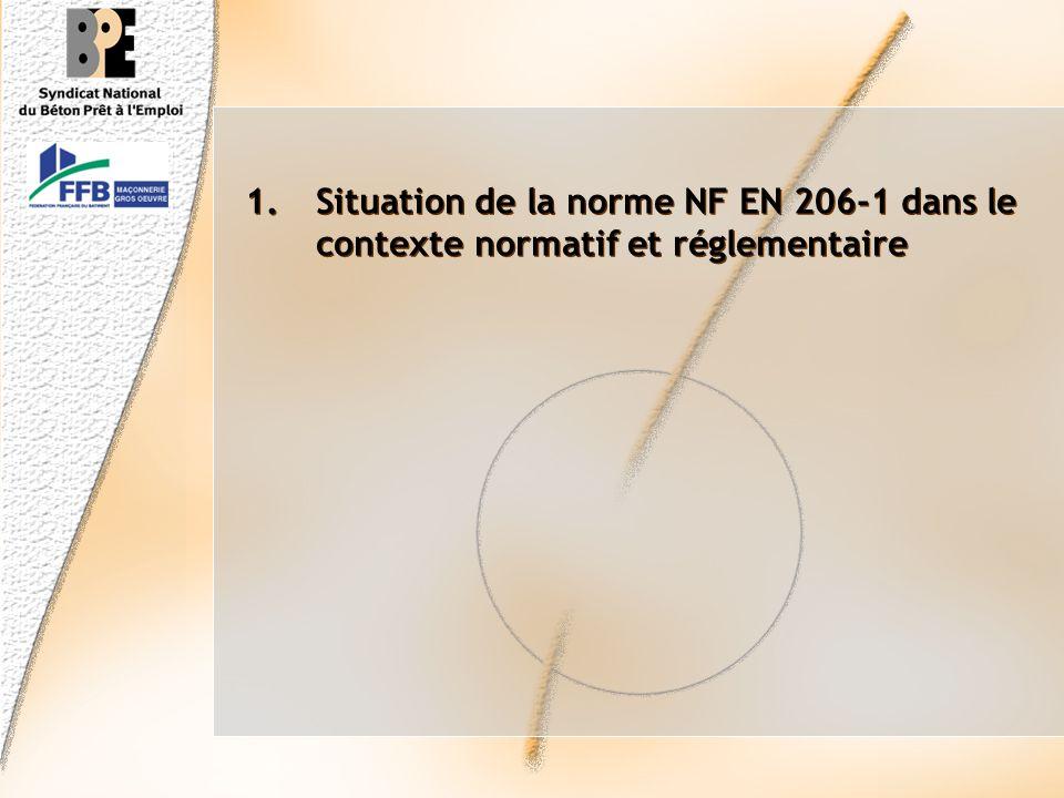 Présentation des objectifs 1.Situation de la norme NF EN 206-1 dans le contexte normatif et réglementaire 2.Désignations, spécifications, et modalités