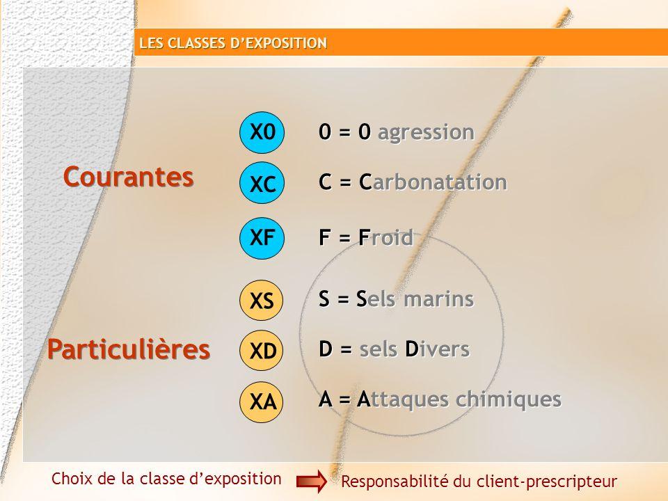 Classes denvironnements XP P 18-305 NF EN 206-1 1234512345 X0 XC XF XS XD XA Classes dexposition Courantes Particulières LES CLASSES DEXPOSITION