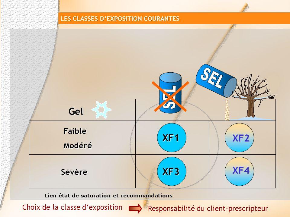 Sévère Gel XF1XF3 Faible Modéré Faible Modéré Choix de la classe dexposition Responsabilité du client-prescripteur LES CLASSES DEXPOSITION COURANTES