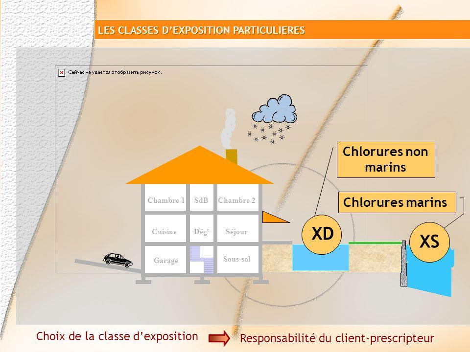Corrosions des armatures par les chlorures XD ou XS Béton armé Choix de la classe dexposition Responsabilité du client-prescripteur LES CLASSES DEXPOS