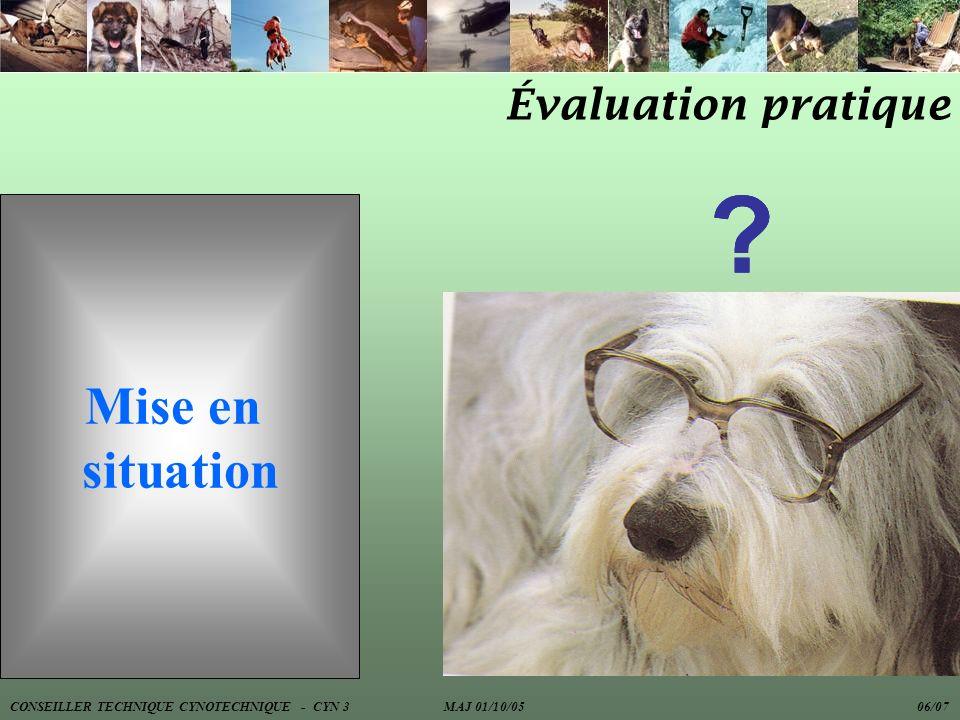 Évaluation pratique Mise en situation ??? CONSEILLER TECHNIQUE CYNOTECHNIQUE - CYN 3 MAJ 01/10/05 06/07