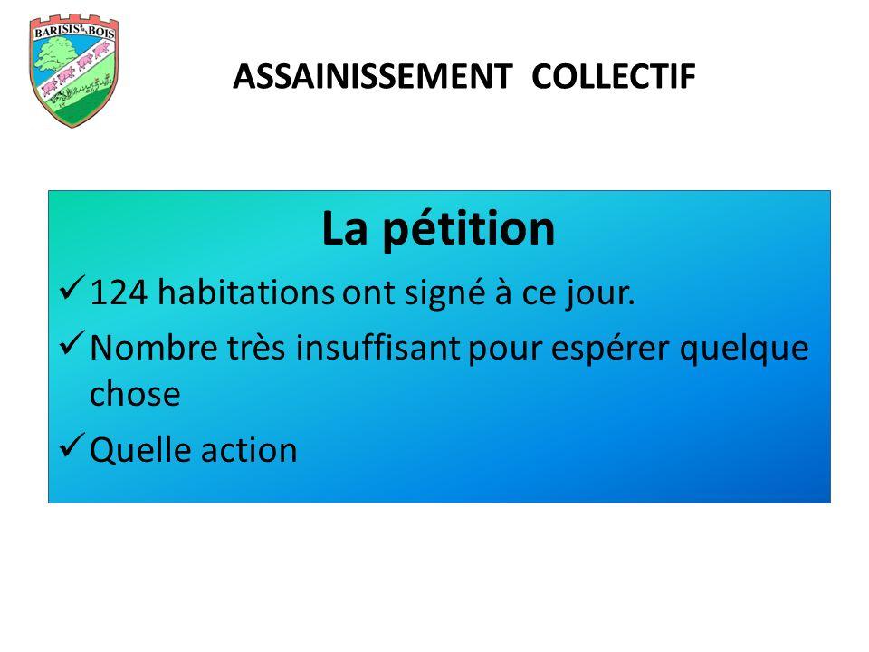 La pétition 124 habitations ont signé à ce jour. Nombre très insuffisant pour espérer quelque chose Quelle action ASSAINISSEMENT COLLECTIF
