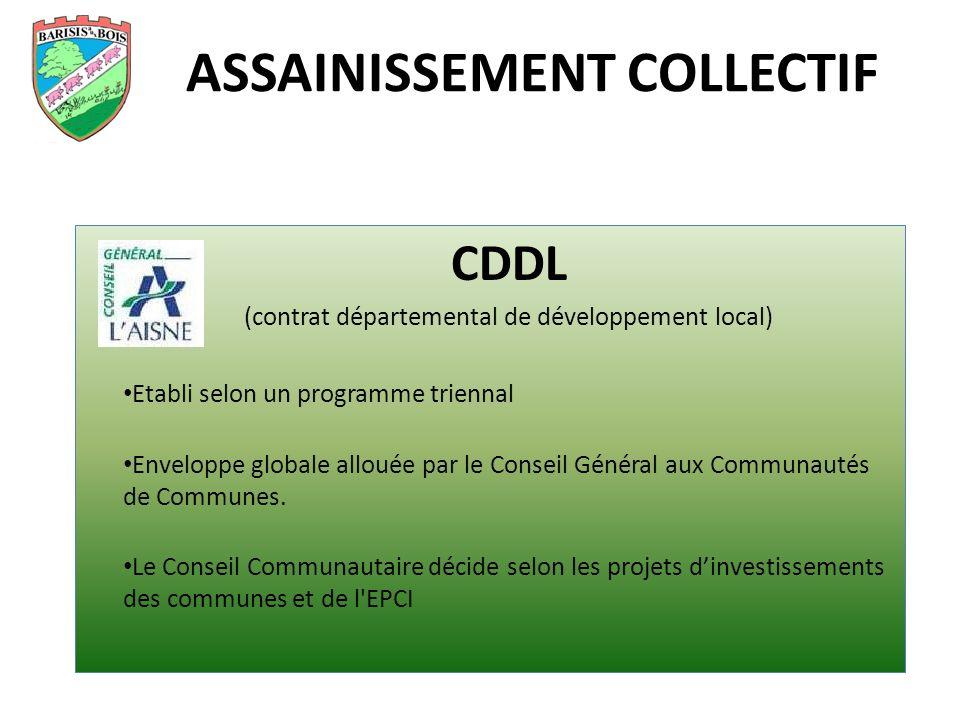 ASSAINISSEMENT COLLECTIF CDDL (contrat départemental de développement local) Etabli selon un programme triennal Enveloppe globale allouée par le Conseil Général aux Communautés de Communes.