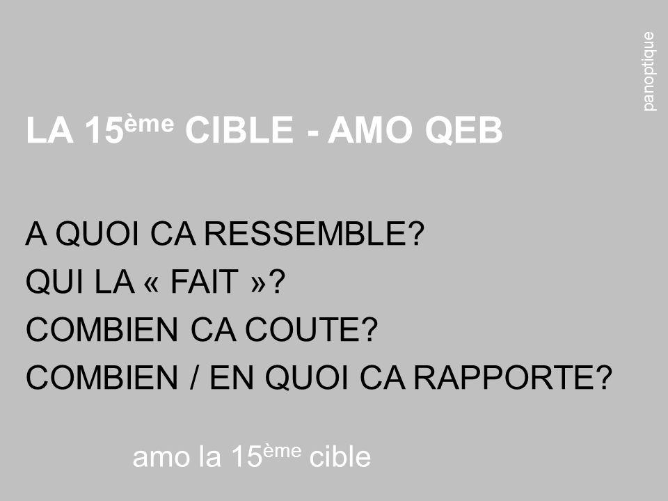 panoptique amo la 15 ème cible LA 15 ème CIBLE - AMO QEB A QUOI CA RESSEMBLE.