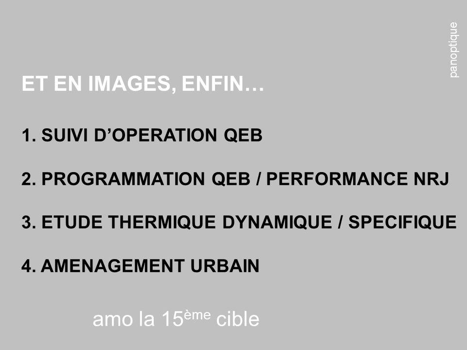 panoptique amo la 15 ème cible ET EN IMAGES, ENFIN… 1. SUIVI DOPERATION QEB 2. PROGRAMMATION QEB / PERFORMANCE NRJ 3. ETUDE THERMIQUE DYNAMIQUE / SPEC