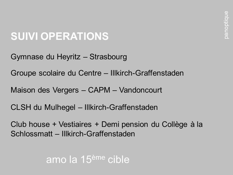 panoptique amo la 15 ème cible SUIVI OPERATIONS Gymnase du Heyritz – Strasbourg Groupe scolaire du Centre – Illkirch-Graffenstaden Maison des Vergers