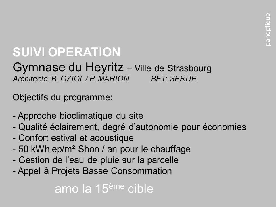 panoptique amo la 15 ème cible SUIVI OPERATION Gymnase du Heyritz – Ville de Strasbourg Architecte: B. OZIOL / P. MARIONBET: SERUE Objectifs du progra