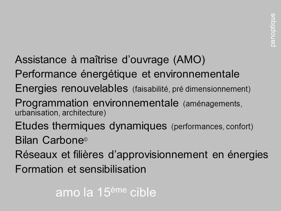 panoptique amo la 15 ème cible Assistance à maîtrise douvrage (AMO) Performance énergétique et environnementale Energies renouvelables (faisabilité, p