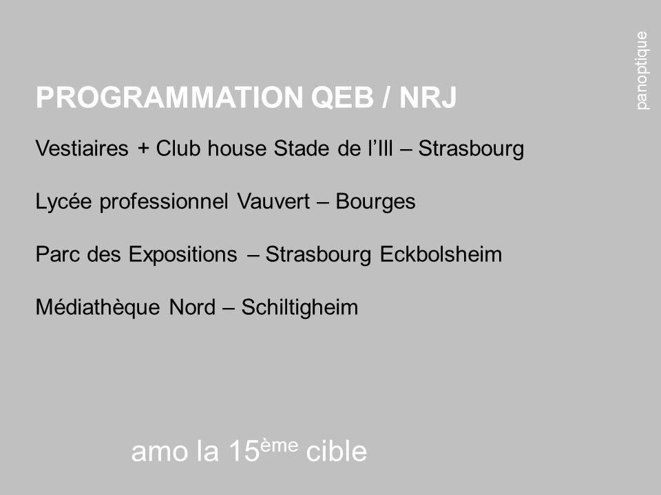 panoptique amo la 15 ème cible PROGRAMMATION QEB / NRJ Vestiaires + Club house Stade de lIll – Strasbourg Lycée professionnel Vauvert – Bourges Parc d