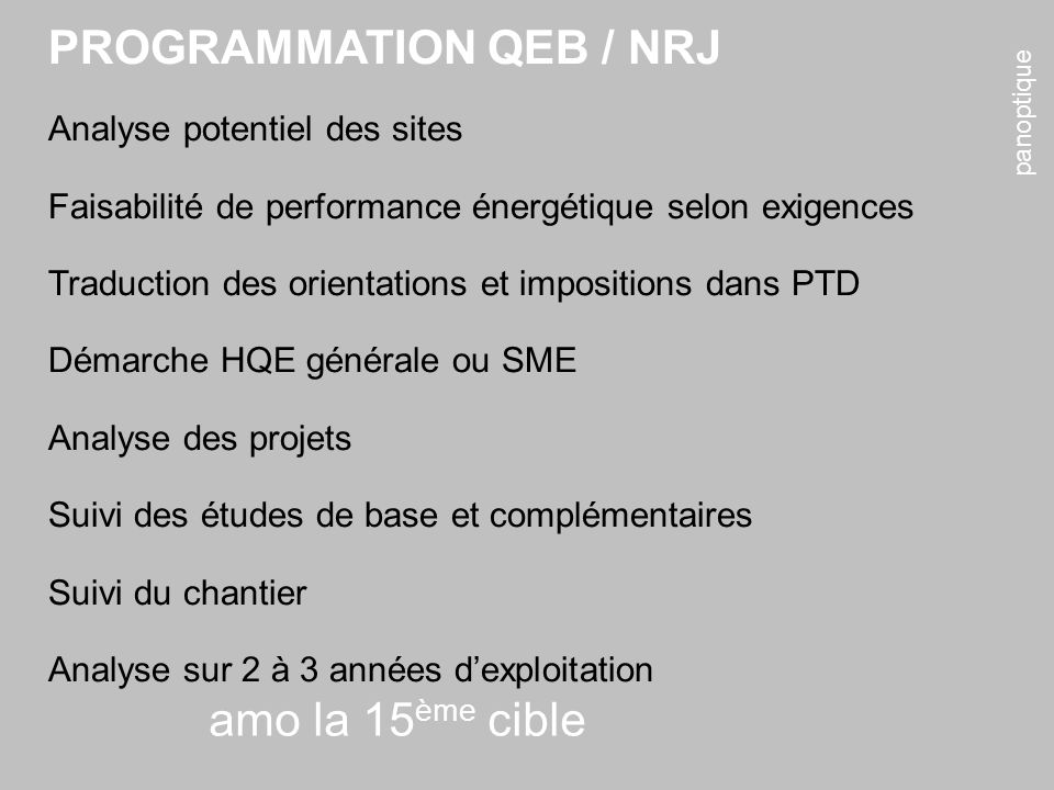 panoptique amo la 15 ème cible PROGRAMMATION QEB / NRJ Analyse potentiel des sites Faisabilité de performance énergétique selon exigences Traduction d