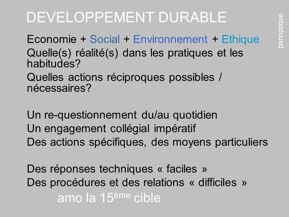 panoptique amo la 15 ème cible Economie + Social + Environnement + Ethique Quelle(s) réalité(s) dans les pratiques et les habitudes? Quelles actions r