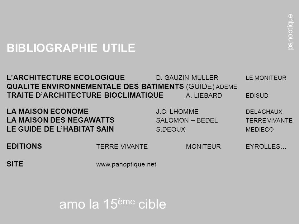 panoptique amo la 15 ème cible BIBLIOGRAPHIE UTILE LARCHITECTURE ECOLOGIQUE D. GAUZIN MULLER LE MONITEUR QUALITE ENVIRONNEMENTALE DES BATIMENTS (GUIDE