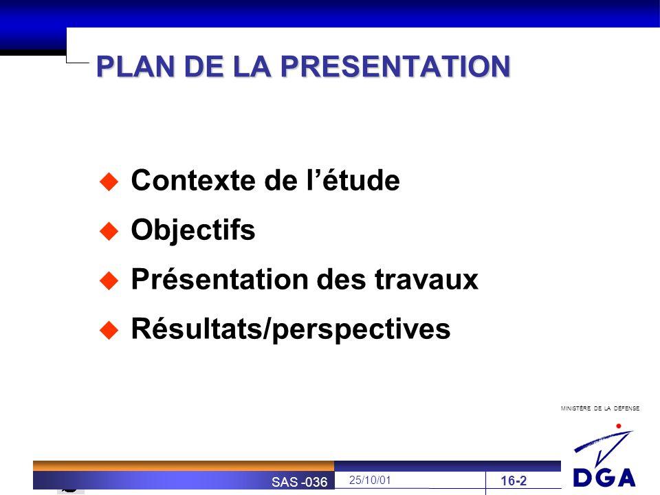MINISTÈRE DE LA DÉFENSE SOFRETEN 25/10/01 SAS -036 16-2 PLAN DE LA PRESENTATION Contexte de létude Objectifs Présentation des travaux Résultats/perspe