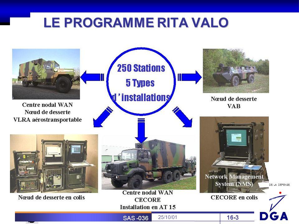 MINISTÈRE DE LA DÉFENSE SOFRETEN 25/10/01 SAS -036 16-3 LE PROGRAMME RITA VALO