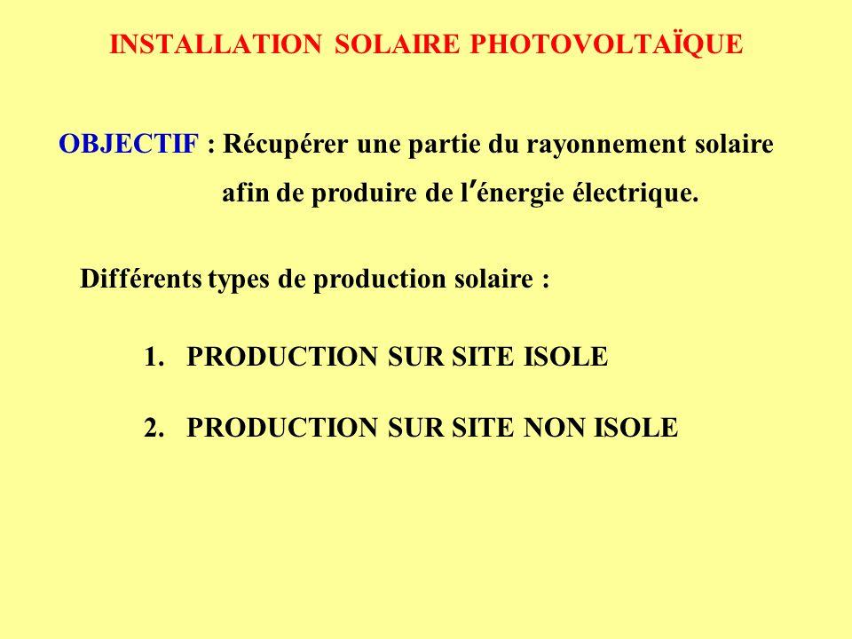 INSTALLATION SOLAIRE PHOTOVOLTAÏQUE 1.PRODUCTION SUR SITE ISOLE 1.2 Objectif Destiner à couvrir en totalité les besoins de consommation 1.1 Définition Site isolé : endroit ne pouvant être raccordé au réseau électrique 1.3 Exemple Alimentation d un phare en énergie