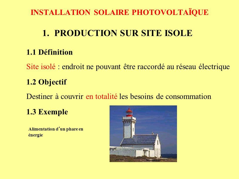 INSTALLATION SOLAIRE PHOTOVOLTAÏQUE 1.PRODUCTION SUR SITE ISOLE 1.2 Objectif Destiner à couvrir en totalité les besoins de consommation 1.1 Définition