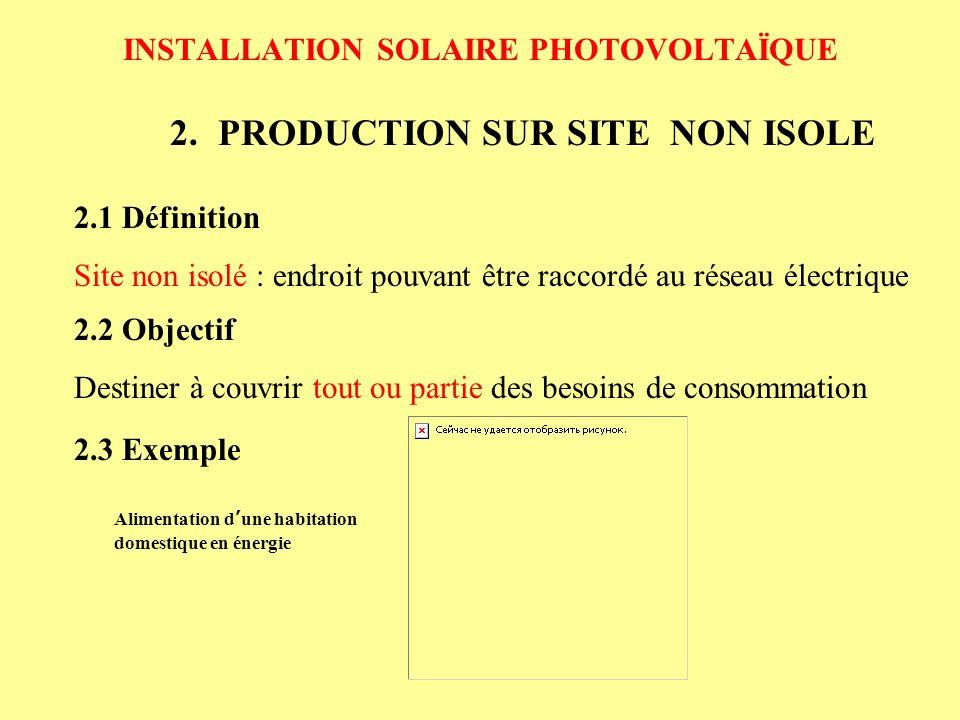 INSTALLATION SOLAIRE PHOTOVOLTAÏQUE 2.PRODUCTION SUR SITE NON ISOLE 2.2 Objectif Destiner à couvrir tout ou partie des besoins de consommation 2.1 Déf