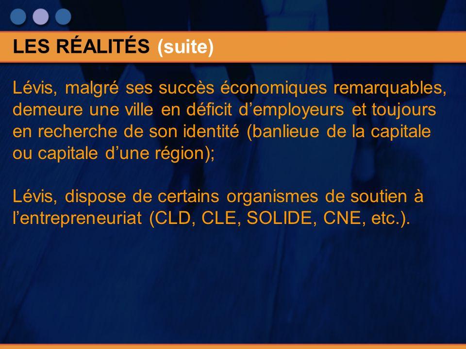 Lévis, malgré ses succès économiques remarquables, demeure une ville en déficit demployeurs et toujours en recherche de son identité (banlieue de la capitale ou capitale dune région); Lévis, dispose de certains organismes de soutien à lentrepreneuriat (CLD, CLE, SOLIDE, CNE, etc.).