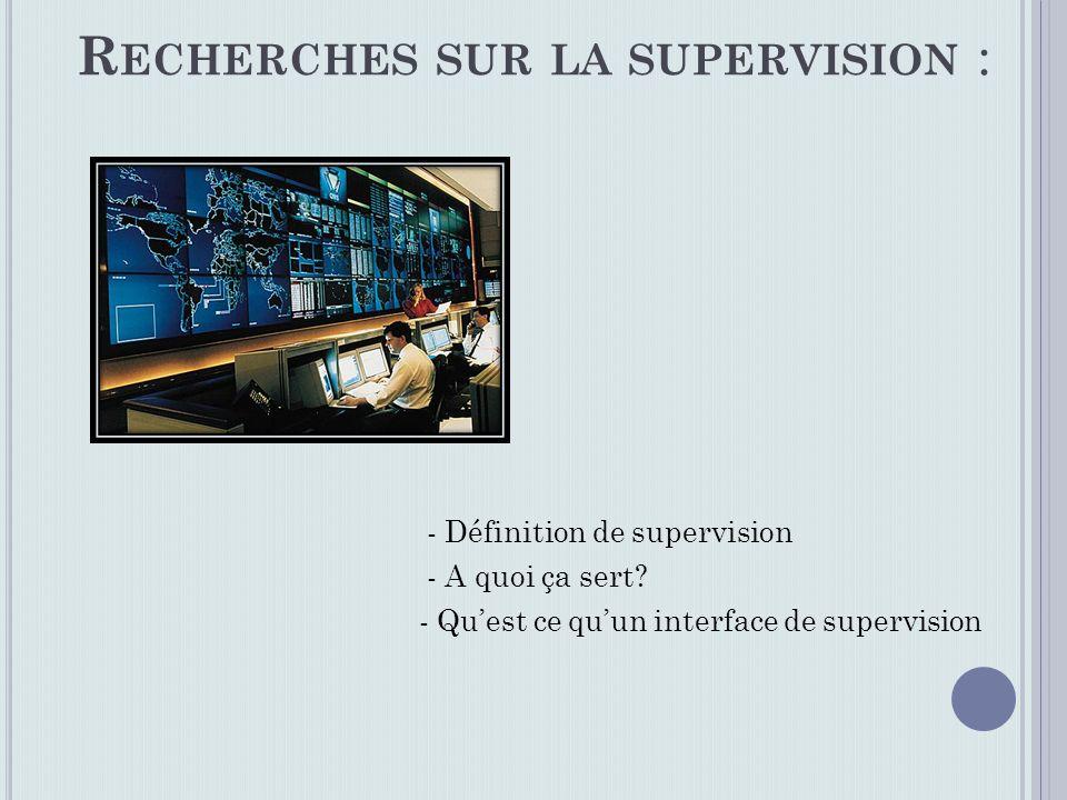 - Définition de supervision - A quoi ça sert.