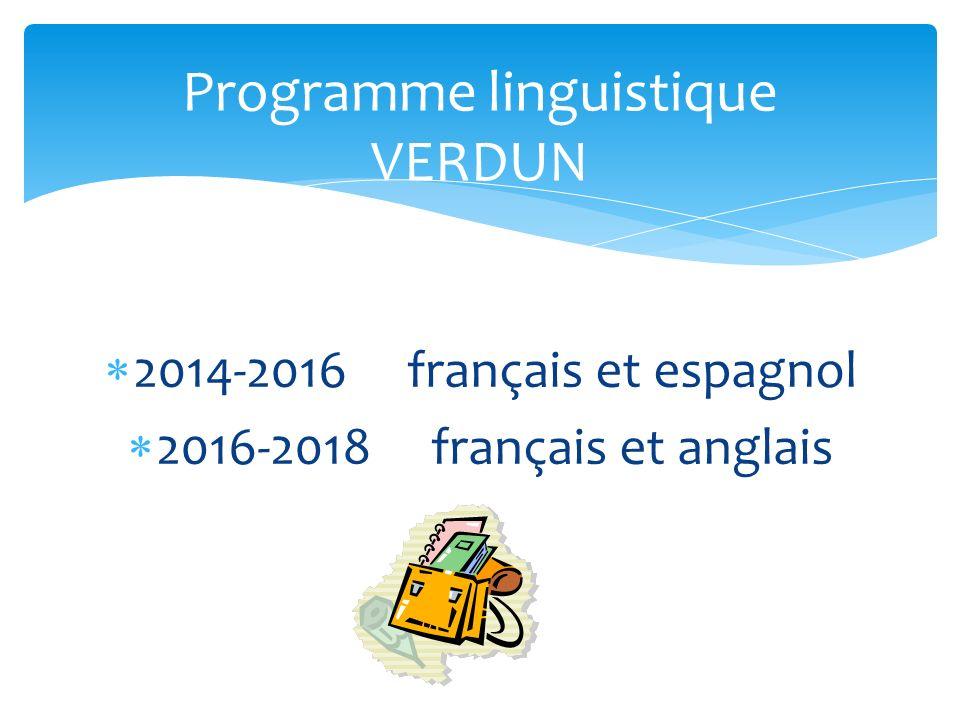 2014-2016 français et espagnol 2016-2018 français et anglais Programme linguistique VERDUN