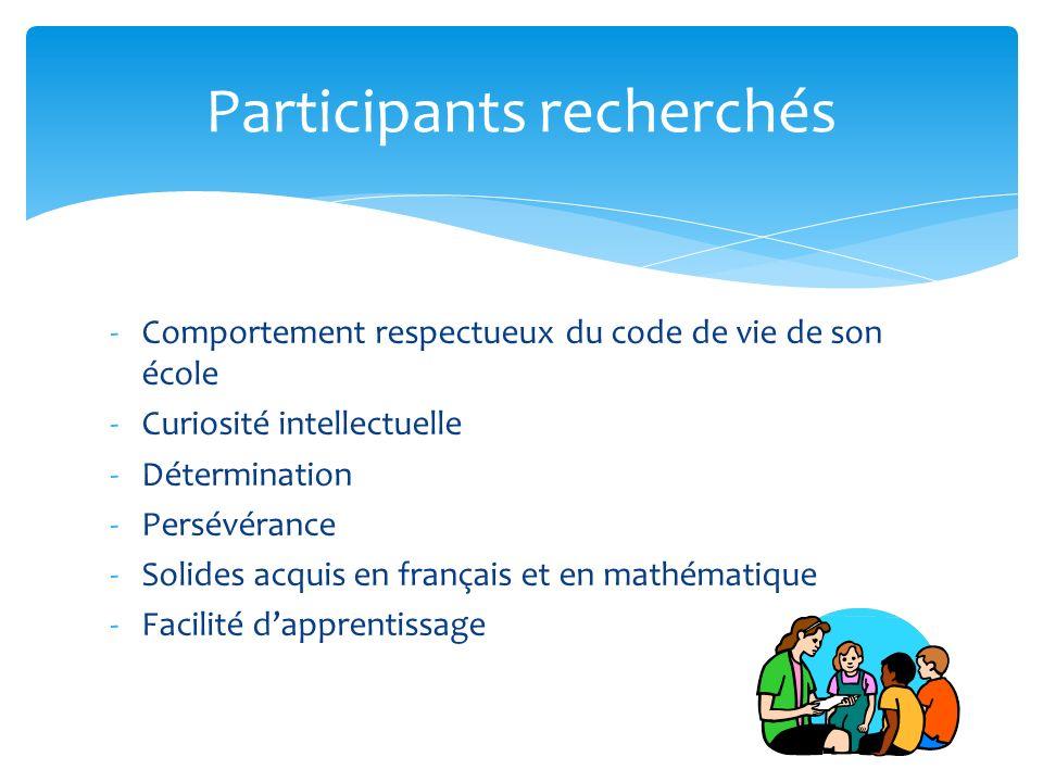 -Comportement respectueux du code de vie de son école -Curiosité intellectuelle -Détermination -Persévérance -Solides acquis en français et en mathématique -Facilité dapprentissage Participants recherchés