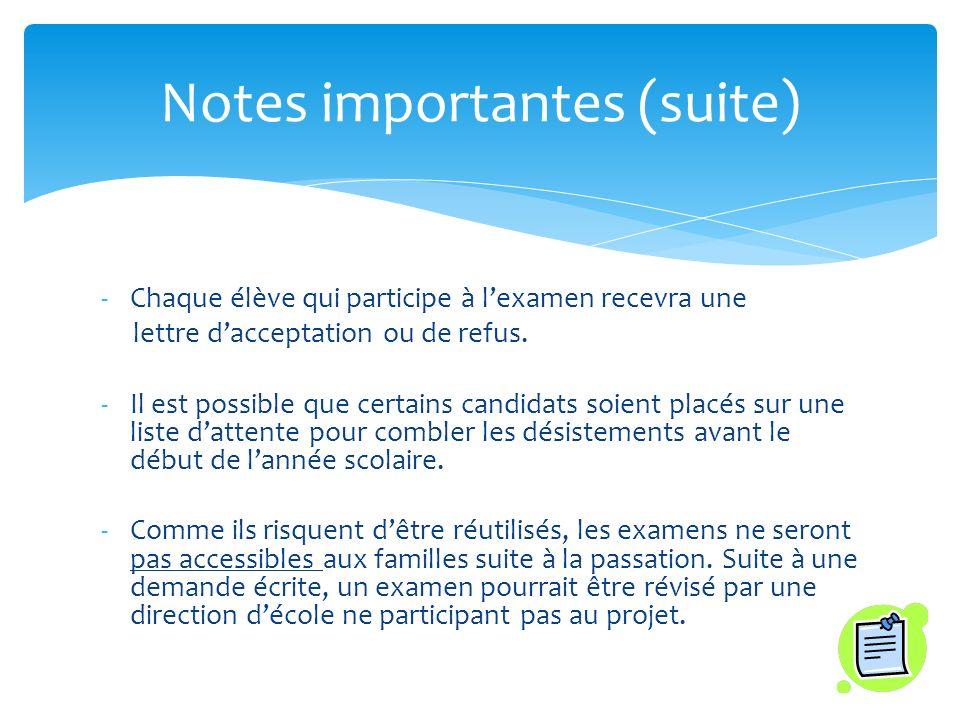 -Chaque élève qui participe à lexamen recevra une lettre dacceptation ou de refus.