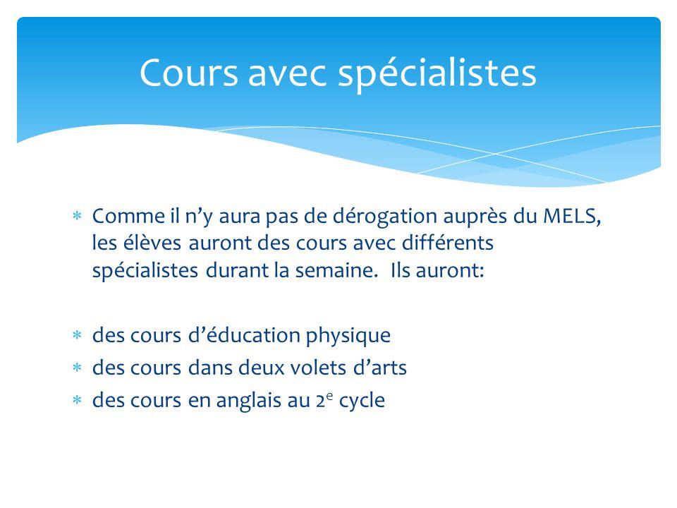Comme il ny aura pas de dérogation auprès du MELS, les élèves auront des cours avec différents spécialistes durant la semaine. Ils auront: des cours d