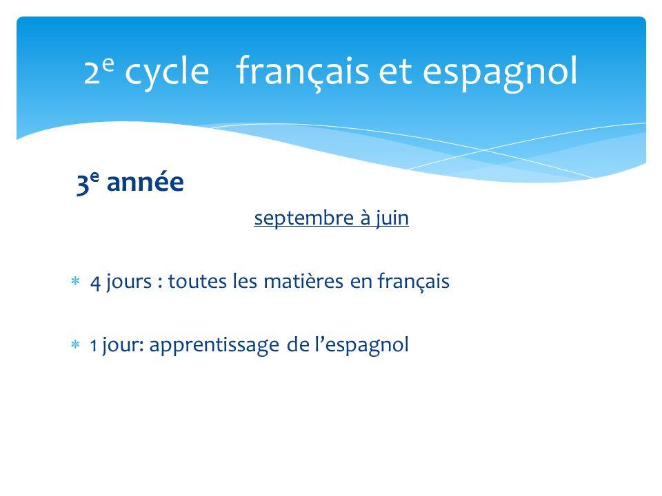 3 e année septembre à juin 4 jours : toutes les matières en français 1 jour: apprentissage de lespagnol 2 e cycle français et espagnol