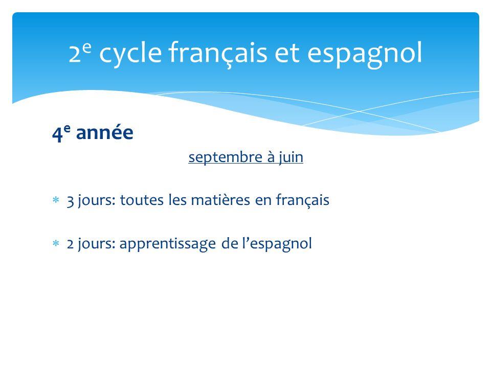4 e année septembre à juin 3 jours: toutes les matières en français 2 jours: apprentissage de lespagnol 2 e cycle français et espagnol