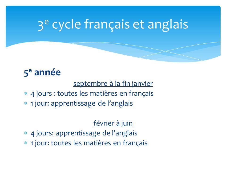 5 e année septembre à la fin janvier 4 jours : toutes les matières en français 1 jour: apprentissage de langlais février à juin 4 jours: apprentissage de langlais 1 jour: toutes les matières en français 3 e cycle français et anglais