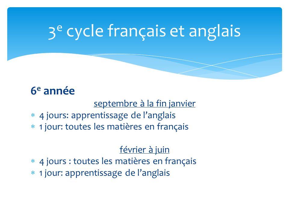 6 e année septembre à la fin janvier 4 jours: apprentissage de langlais 1 jour: toutes les matières en français février à juin 4 jours : toutes les matières en français 1 jour: apprentissage de langlais 3 e cycle français et anglais