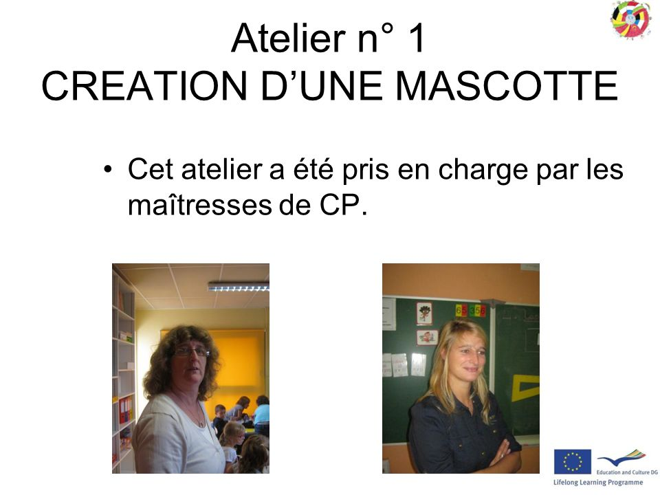 Atelier n° 1 CREATION DUNE MASCOTTE Cet atelier a été pris en charge par les maîtresses de CP.
