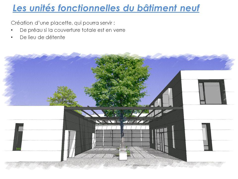 Les unités fonctionnelles du bâtiment neuf Création dune placette, qui pourra servir : De préau si la couverture totale est en verre De lieu de détent