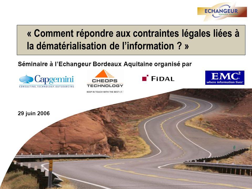 Séminaire Echangeur Bordeaux Aquitaine – 29 juin 2006 - 11 Dans lexemple des factures fournisseurs, les gains peuvent atteindre 30 à 50% du coût de traitement actuel avec un ROI inférieur à 2 ans 1,7 milliard de factures sont échangées par an en France (15 milliards en Europe) Source: 01 Informatique, juin 2003 Validation 25 % 21% 14% 15 % 25% Validation Exemple Acheteur: gain potentiel: 8 à 14 euros Exemple Acheteur: gain potentiel: 8 à 14 euros 25 % 40% 16% 15 % 4 % Exemple Fournisseur: gain potentiel: 3 à 5 euros Exemple Fournisseur: gain potentiel: 3 à 5 euros Acheteur Fournisseur Le coût total de traitement dune facture est indépendant de sa valeur et varie selon la complexité de la facture et de l organisation associée Réclamations / litiges / relances Réception / Archivage Saisie / Contrôle conformité Autres traitements comptables Réclamations / litiges / relances Réception / Archivage Saisie / Contrôle conformité Autres traitements comptables Pertes en Trésorerie Gestion des litiges / Relances Gestion des litiges / Relances Règlements / Archivage / Lettrage Edition / Envoi Autres traitements Gestion des litiges / Relances Gestion des litiges / Relances Règlements / Archivage / Lettrage Edition / Envoi Autres traitements Economie potentielle : Acheteurs: 18,7 Mds Fournisseurs: 6,8 Mds Coût moyen: 10 euros Coût moyen: 10 euros Coût moyen: 18 à 30 euros Coût moyen: 18 à 30 euros