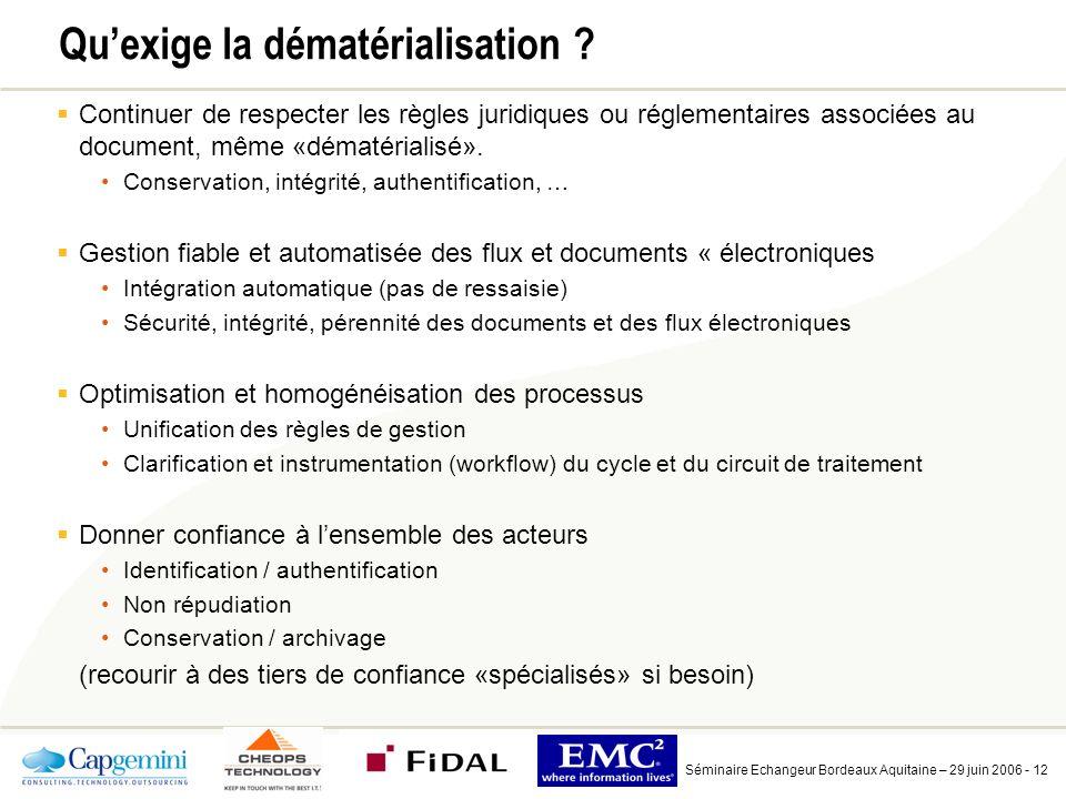 Séminaire Echangeur Bordeaux Aquitaine – 29 juin 2006 - 12 Quexige la dématérialisation .
