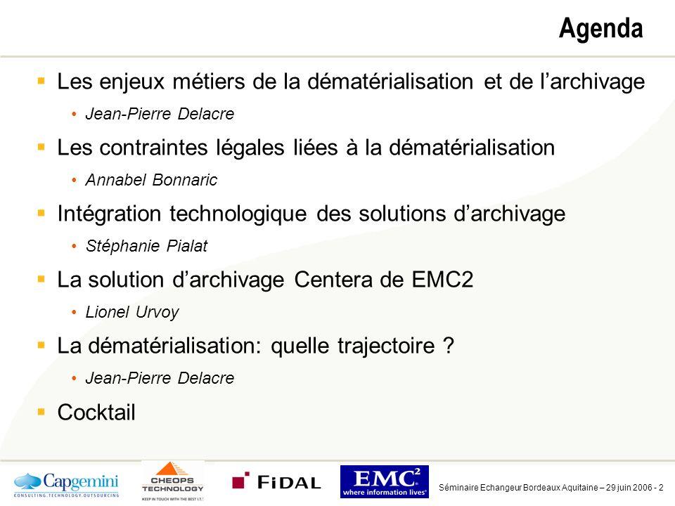 Séminaire Echangeur Bordeaux Aquitaine – 29 juin 2006 - 43 Laccès universel simplifie radicalement larchivage Centera Aucune contrainte de lieu, de temps ni dapplication, à partir de nimporte quelle plate-forme API Centera NFS CIFSFTP HTTP Émulation