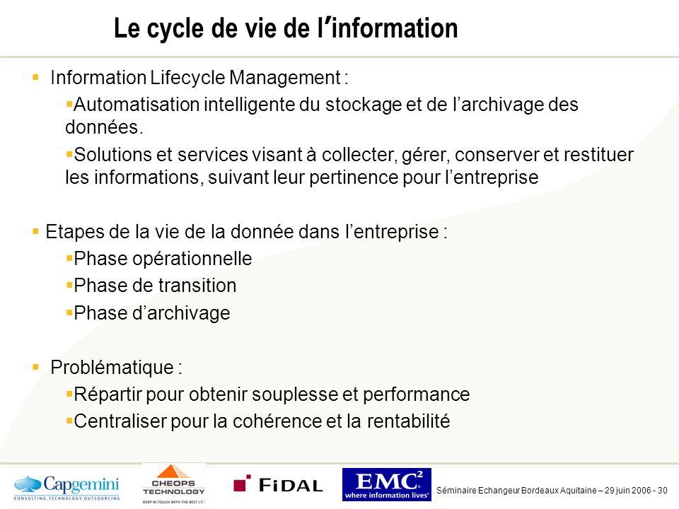 Séminaire Echangeur Bordeaux Aquitaine – 29 juin 2006 - 30 Le cycle de vie de l information Information Lifecycle Management : Automatisation intelligente du stockage et de larchivage des données.