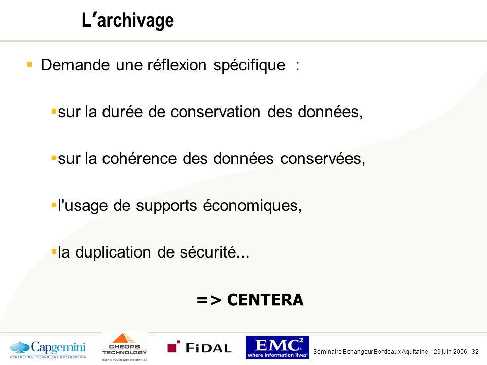 Séminaire Echangeur Bordeaux Aquitaine – 29 juin 2006 - 32 L archivage Demande une réflexion spécifique : sur la durée de conservation des données, sur la cohérence des données conservées, l usage de supports économiques, la duplication de sécurité...