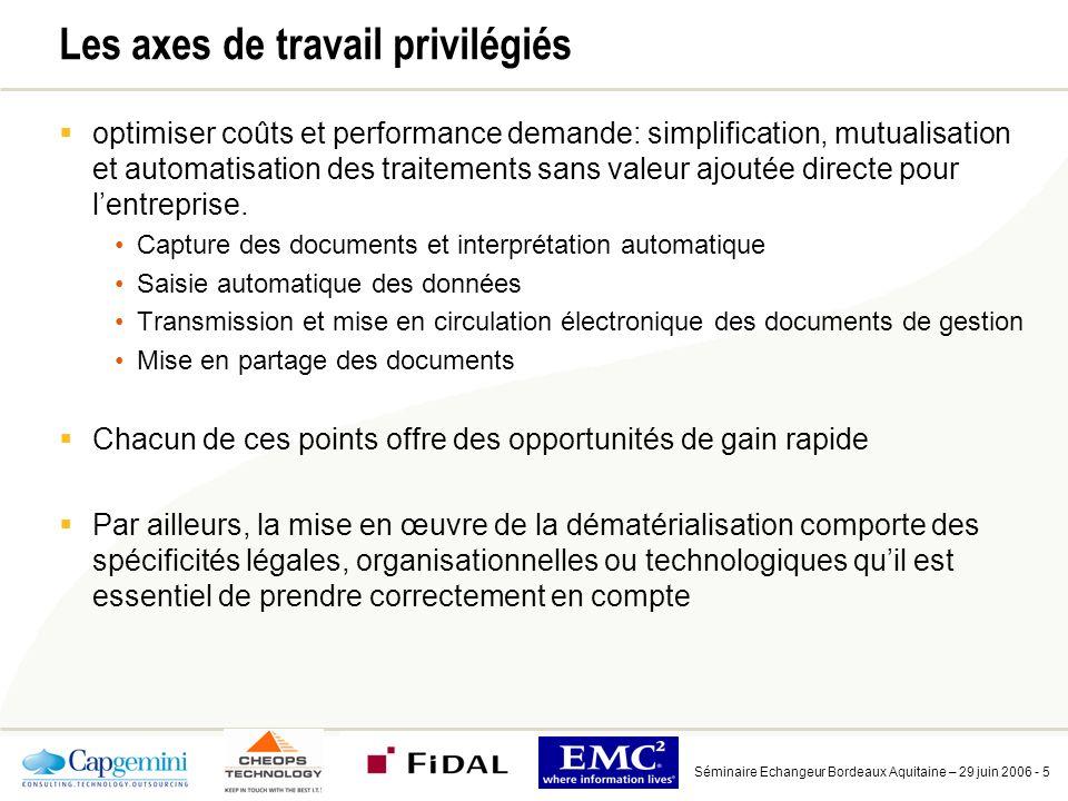 Séminaire Echangeur Bordeaux Aquitaine – 29 juin 2006 - 5 Les axes de travail privilégiés optimiser coûts et performance demande: simplification, mutualisation et automatisation des traitements sans valeur ajoutée directe pour lentreprise.