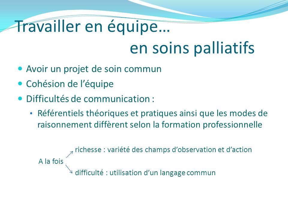 Travailler en équipe… en soins palliatifs Avoir un projet de soin commun Cohésion de léquipe Difficultés de communication : Référentiels théoriques et