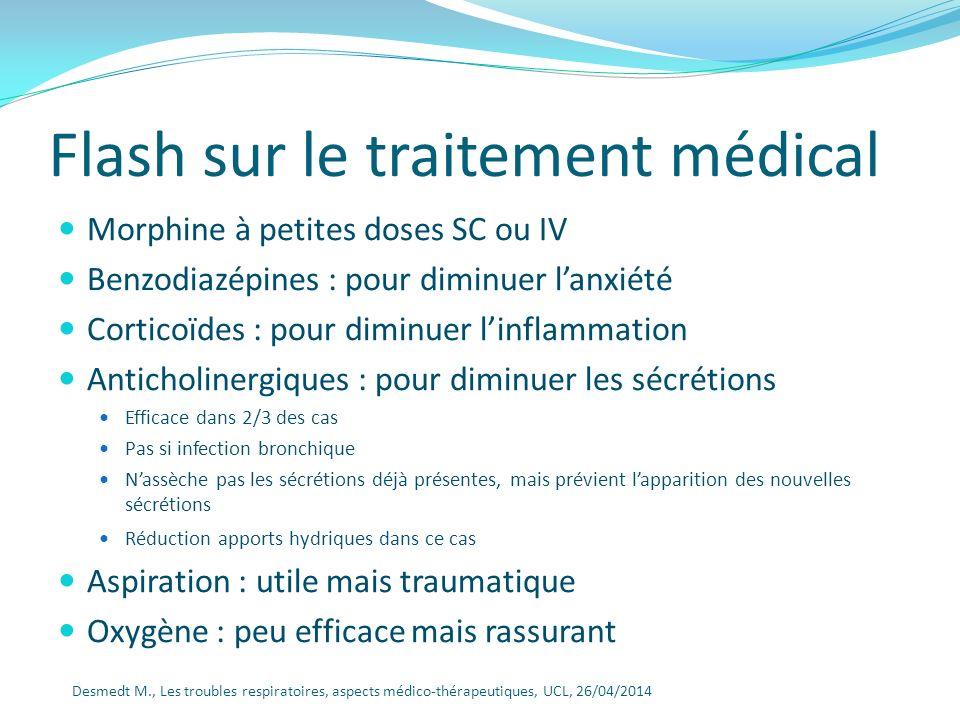 Flash sur le traitement médical Morphine à petites doses SC ou IV Benzodiazépines : pour diminuer lanxiété Corticoïdes : pour diminuer linflammation A
