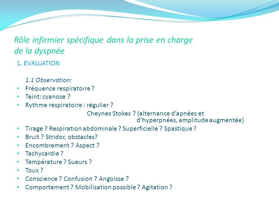 Rôle infirmier spécifique dans la prise en charge de la dyspnée 1. EVALUATION 1.1 Observation: Fréquence respiratoire ? Teint: cyanose ? Rythme respir