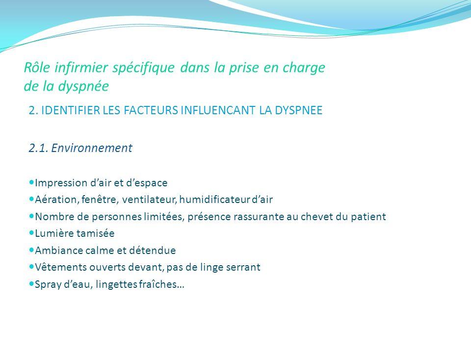 Rôle infirmier spécifique dans la prise en charge de la dyspnée 2. IDENTIFIER LES FACTEURS INFLUENCANT LA DYSPNEE 2.1. Environnement Impression dair e