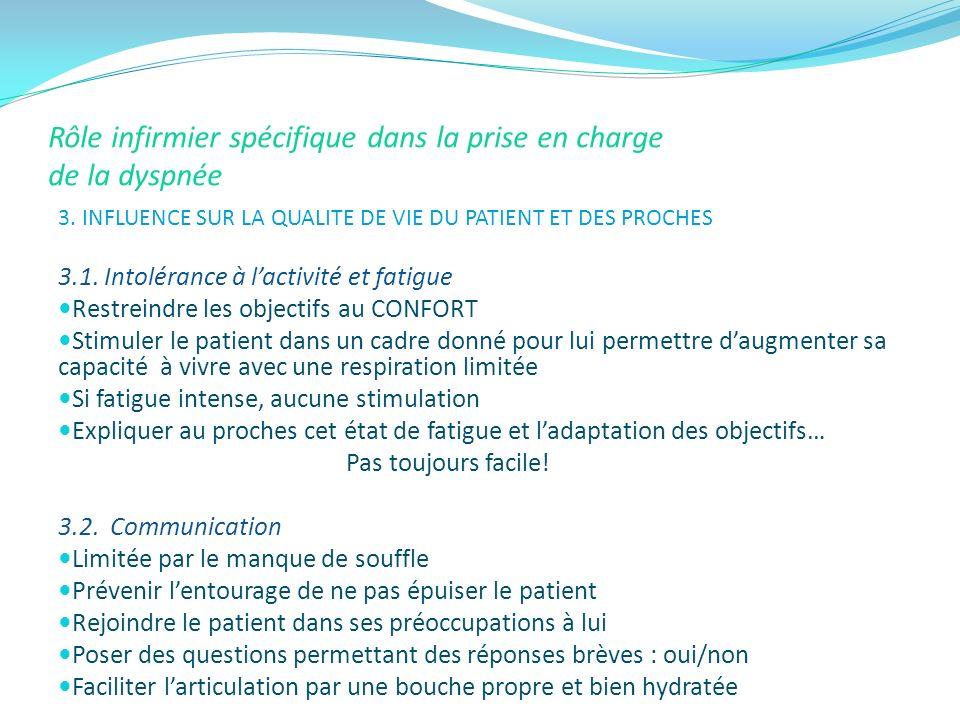 Rôle infirmier spécifique dans la prise en charge de la dyspnée 3. INFLUENCE SUR LA QUALITE DE VIE DU PATIENT ET DES PROCHES 3.1. Intolérance à lactiv