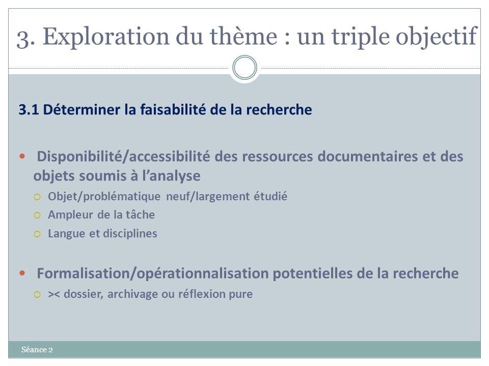 3. Exploration du thème : un triple objectif Séance 2 3.1 Déterminer la faisabilité de la recherche Disponibilité/accessibilité des ressources documen