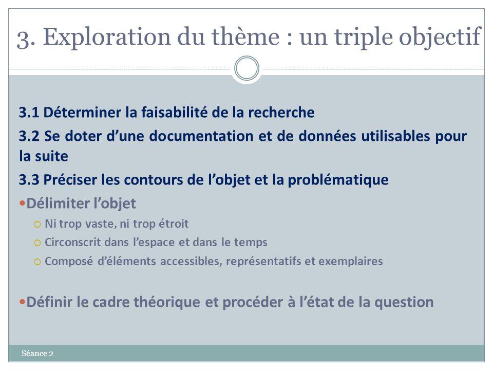 3. Exploration du thème : un triple objectif Séance 2 3.1 Déterminer la faisabilité de la recherche 3.2 Se doter dune documentation et de données util